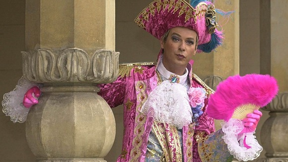 Clary pictured as pantomime character Dandini in the fairy tale Cinderella in 2001.