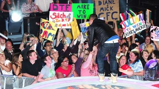 """Crowds greet Mike """"The Situation"""" Sorrentino as he leaves the Celebrity Big Brother house."""