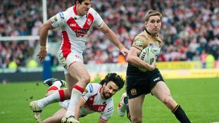St Helens score try against Wigan Rugby League