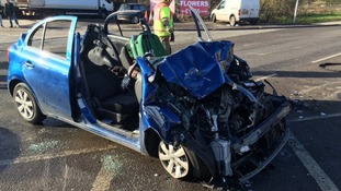 A goods lorry and a car collided at about 10:30am this morning.