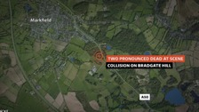 Two people have died after a collision on the A50 in Leicestershire yesterday evening.