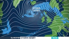 Pressure chart for Monday 1st Feb 2016. Storm Henry tracks north and east of the UK bringing very strong winds for the northern half of UK