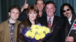 Terry Wogan with Katrina and the Waves, Britain's last Eurovision winners.