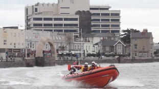 A life boat launches from Weston-super-Mare