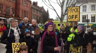 Protesters in Carlisle centre