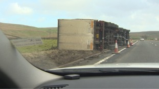 Overturned lorry on the A66.