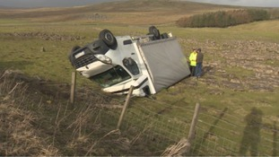 Overturned van on the A66.