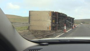 Lorries overturned on the A66.