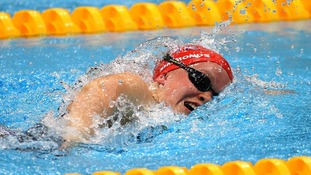 Ellie Simmonds on her way to finishing second in the women's S6 100m Freestyle  final