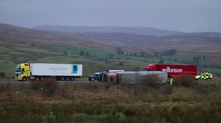 An overturned wagon near Tebay Services.