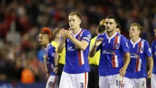 Gary Dicker, right, after Carlisle United's Capital One Cup defeat to Liverpool.