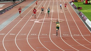 Oscar Pistorius was well ahead of the field as he crossed the finish line