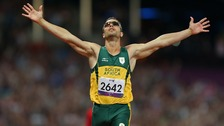 South Africa&#x27;s Oscar Pistorius celebrates winning Gold in a new Paralympic Record time during the Men&#x27;s 400m - T44 Final 