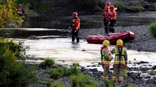 A search and rescue operation in the river at Bishop Auckland.
