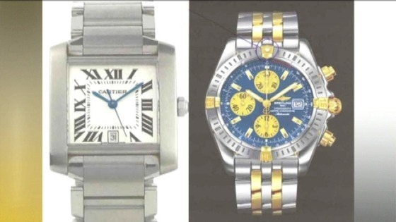 White Cartier watch and Breitling watch