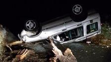 Drink driver arrested after car overturns