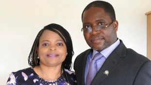Dr Sylvester Nyatsuro, pictures with his wife Veronica, has been handed farmland in Zimbabwe after a family were evicted by state police