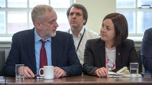 Kezia Dugdale, right, sits down with Jeremy Corbyn