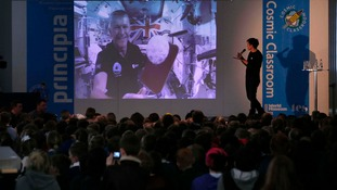 Tim Peake also played ping pong during the session