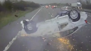 Hold your breath! Dashcam video captures shocking crash as overturned car skids across motorway