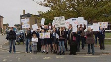 Campaigners outside Monk's Dyke Tennyson College