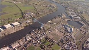 Aerial footage showing the Transporter Bridge in Middlesbrough.