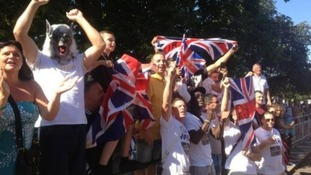 Friends and family of David Weir cheering him on