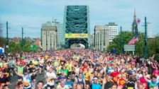 Runners cross Tyne Bridge during the 2015 Morrisons Great North Run, Newcastle.