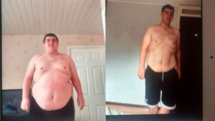 Before and after: Chris Mardlin began his weight loss two years ago