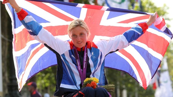 Great Britain&#x27;s Shelly Woods celebrates winning Silver