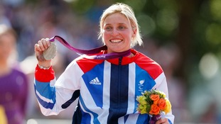 Great Britain's Shelly Woods celebrates winning Silver