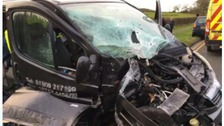 The driver's side of the vehicle was significantly damaged in the crash