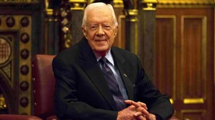 Former US President Jimmy Carter spoke in the House of Lords on Wednesday.