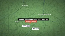 Elderly man threatened with iron bar in Tipps End, Norfolk.