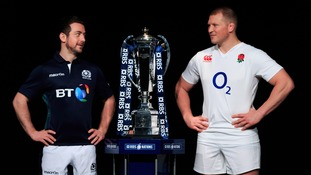 Greig Laidlaw squares off with England Captain Dylan Hartley