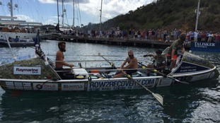 The team are the first all-amputee group to row across an ocean.