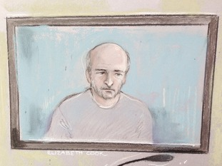 Court artist sketch of Edward Tenniswood