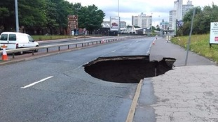 The site of the sinkhole on the Mancunian Way