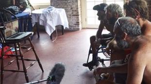 Prince Harry speaks to the Row2Recovery team in Antigua via Skype.