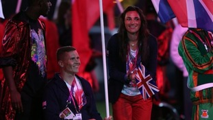 Great Britain's flag bearers Sarah Storey and David Weir.