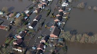 Water surrounding homes in Moorland