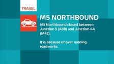 M5 closed Northbound