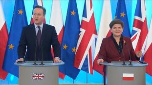 David Cameron is meeting EU counterparts in Poland and Denmark today