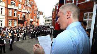 Julian Assange made an address from inside London's Ecuadorian embassy after being granted asylum in August 2012.