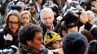 Julian Assange at the Royal Courts of Justice in December 2011.