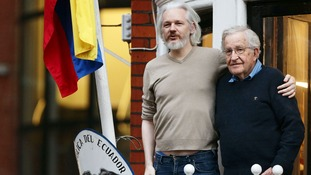 Julian Assange was visited by American philosopher and writer Noam Chomsky in November 2014, one of a number of public figures who offered their support to the WikiLeaks founder.