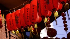 Chinese lanterns hung for Chinese New Year