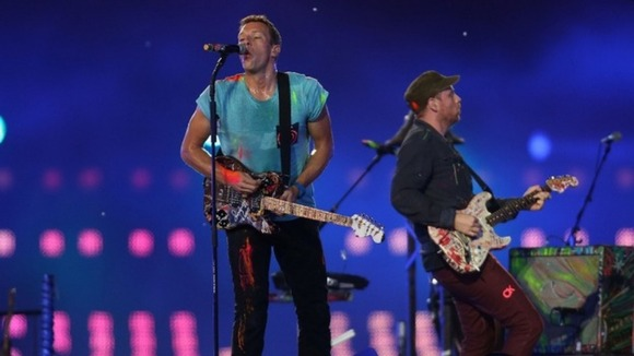 Coldplay perform during the Paralympic Games closing ceremony.