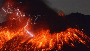 Japan volcano Sakurajima erupts spectacularly as lightning flashes in the sky