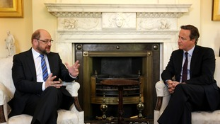 European Parliament President Martin Schultz in Downing Street with David Cameron